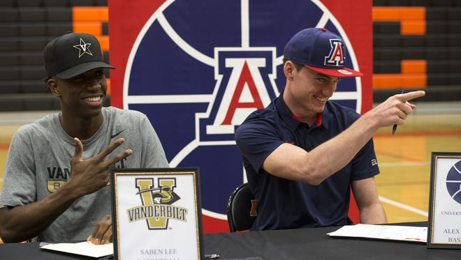Alex Barcello (right) and Saben Lee at their National Letter of Intend ceremony, November 9, 2016, in the gym at Corona del Sol High School, 1001 E. Knox Rd., Tempe.