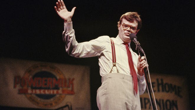 """Anyone who ever was around my show can tell you that I was the least physically affection person in the building,"" Keillor, seen here while performing 'A Prairie Home Companion' in 1986, claimed to 'The Minneapolis Star-Tribune.'"