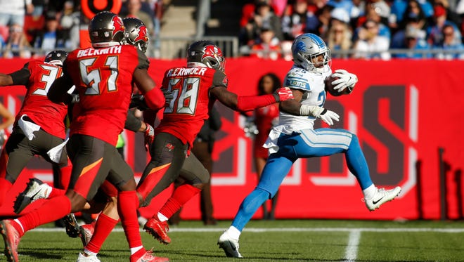 Lions running back Theo Riddick had 93 yards from scrimmage on 10 rushes and six receptions.