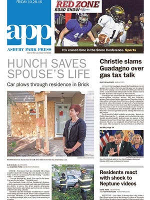 Asbury Park Press front page, Friday, Oct. 28, 2016