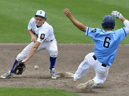 Sartell's Keenan Lund tries to tag Zach Fuecker of Sauk Rapids out at second base during Saturday's game at Dick Putz Field in St. Cloud.