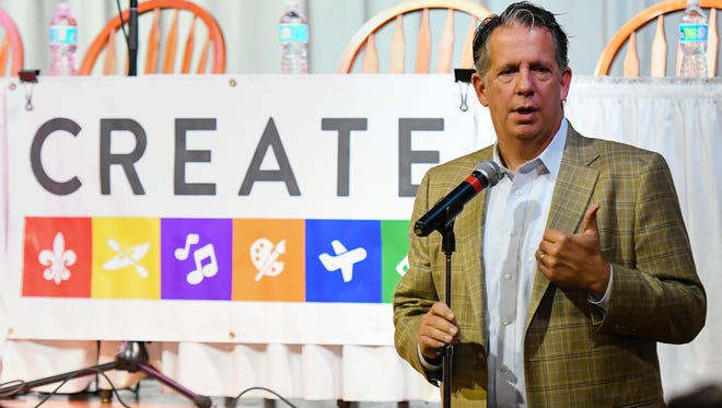 Lafayette Mayor-President Joel Robideaux delivers opening remarks at The CREATE Summit at Vermilionville. Friday, Aug. 25, 2017.