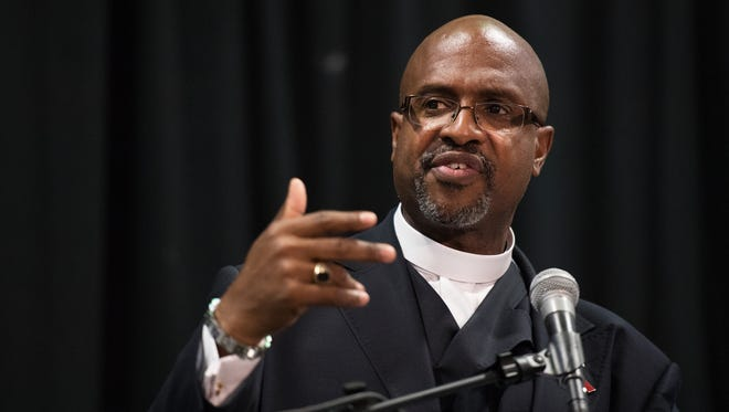 Reverend Eric S.C. Manning, pastor of Mother Emanuel A.M.E. in Charleston, speaks at the University of South Carolina Upstate in Spartanburg on Thursday, September 28, 2017.