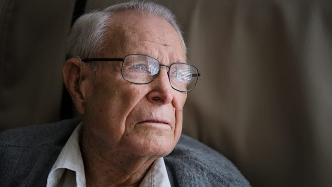 """Herbert """"Mac"""" MacMillan is pictured in his room at Brookdale Greenville Senior Living Community on Wednesday, Oct. 25, 2017."""