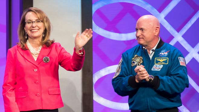 Gabby Giffords and Mark Kelly speak at the Desert Town Hall speaker series at the Renaissance Indian Wells Resort & Spa on February 23, 2018.