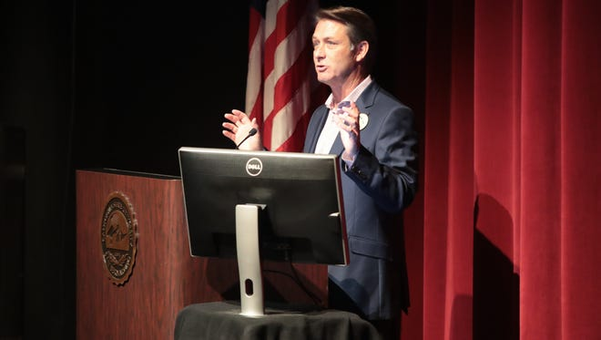 Scott White, president and CEO of the Greater Palm Springs Convention & Visitors Bureau, speaks at the unveiling of the Economic Impact of Tourism report results in, Palm Desert, Calif., May 3, 2018.