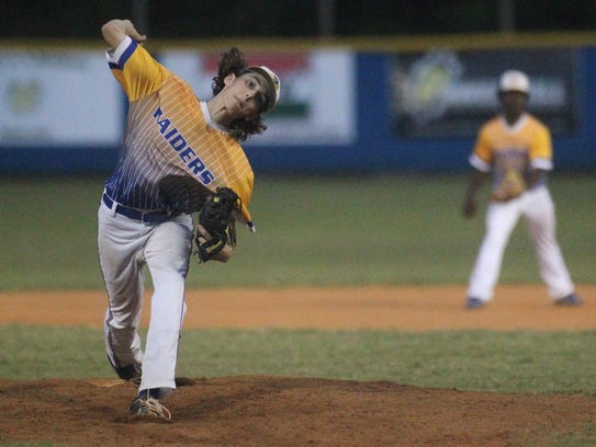 Rickards pitcher Michael-Todd Reed threw as part of