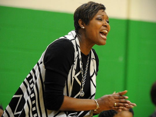 Mardela coach Kesha Cook calls out to her team at McCool's House of Hoops on Tuesday, Jan. 24, 2017.