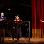 """This image released by Lincoln Center Theater shows Tony Shalhoub, from left, Andrea Martin, and Santino Fontana in a scene from """"Act One,"""" at the Vivian Beaumont Theater in New York."""