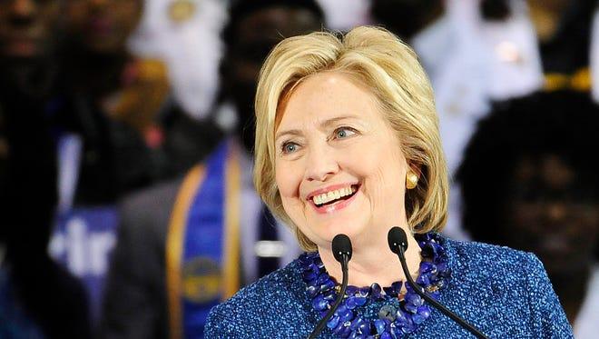 2016 Democratic Presidential Candidate Hillary Rodham Clinton speaks in Henderson Gymnasium on the Fisk University campus Friday, Nov. 20, 2015 in Nashville, Tenn.