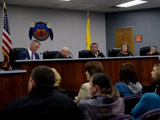 Aztec City Commission candidates Victor Snover, Mark Lewis, Joel Barton, Sheri Rogers and Rosalyn Fry participated in a forum on Thursday at Aztec City Hall.