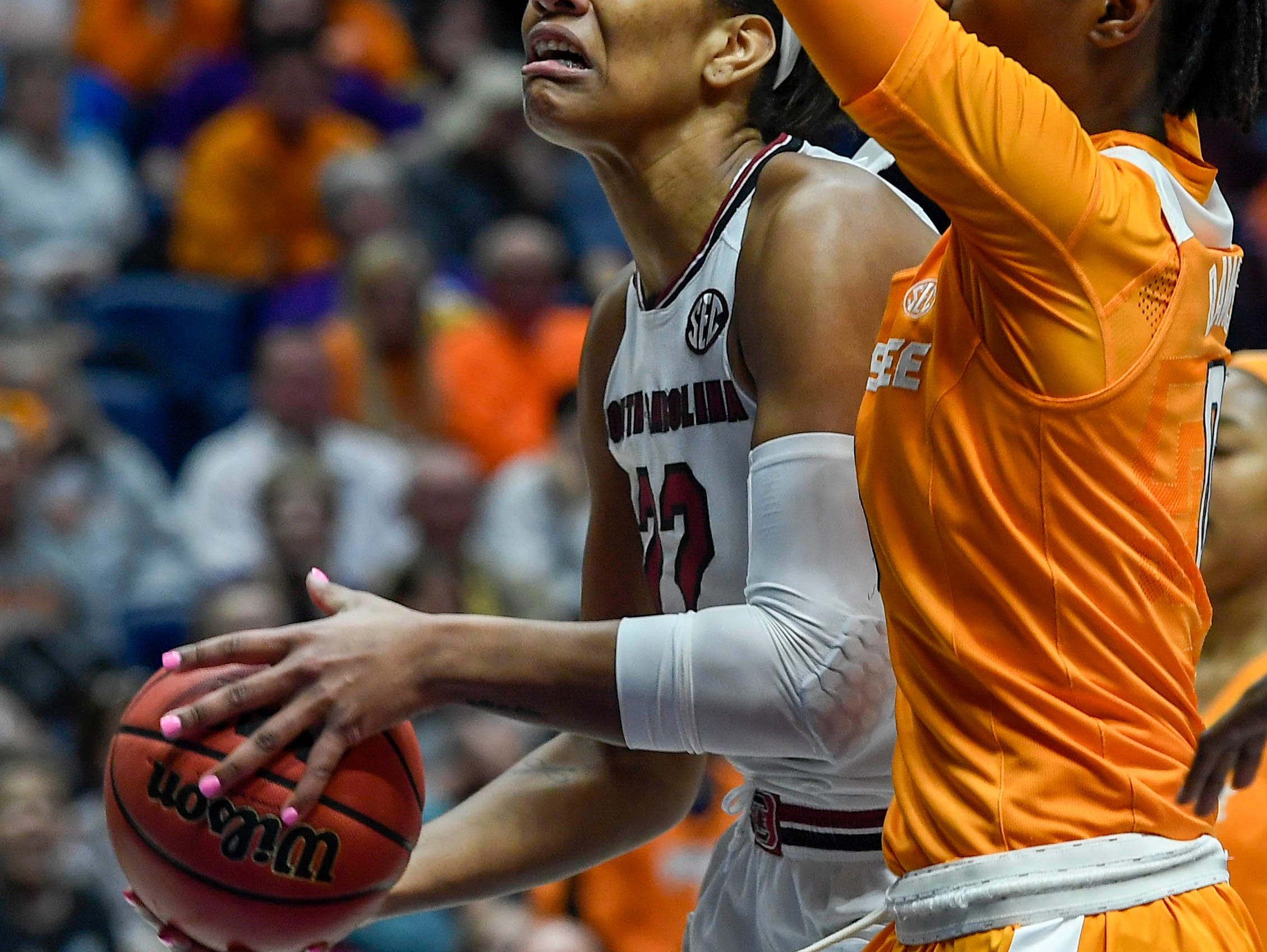 South Carolina Gamecocks forward A'ja Wilson (22) is blocked by Tennessee Lady Volunteers guard/forward Rennia Davis (0) in the first half of the game during round 3 of the SEC Women's Basketball Tournament at the Bridgestone Arena in Nashville, Tenn., Friday, March 2, 2018.