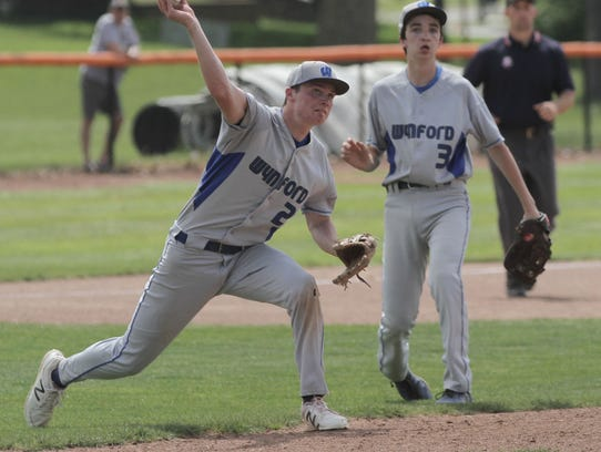 Wynford's Wyatt Smith throws to first base during a