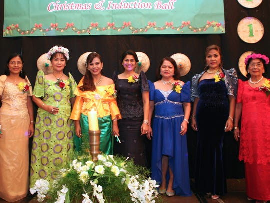 The Filipino Ladies Association of Guam's Executive Board was sworn into office by First Lady Christine Calvo on Jan. 6. From left: Cristina Bansil, Lynda Tolan, past president, Shirley Trinidad, incoming president, First Lady Christine Calvo, Maritess Sotto, Celia Casem Martinez and Gloria Baguinon.