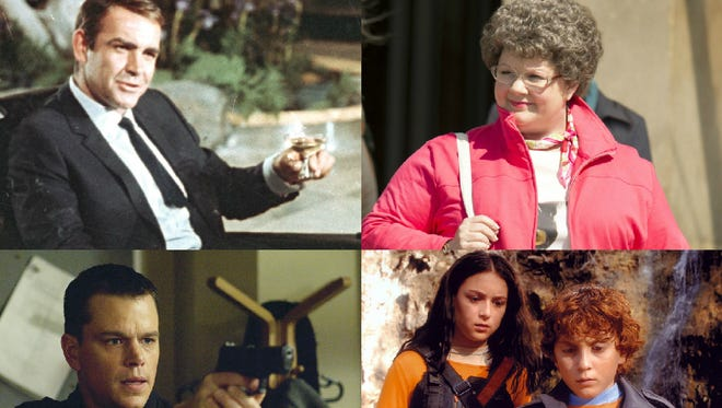 Sean Connery as James Bond, Melissa McCarthy in 'Spy,' Matt Damon as Jason Bourne and a scene from 'Spy Kids 2.'
