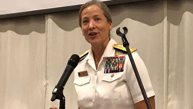 Joint Region Marianas and U.S. Naval Forces Marianas Rear Admiral Shoshana Chatfield addresses the Guam Contractors Association on July 19, 2017.