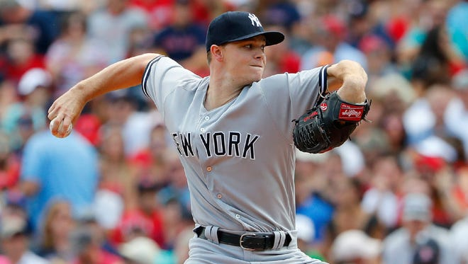 Yankees starter Sonny Gray delivers a pitch against the Red Sox Sunday at Fenway Park. Gray allowed two runs in five innings of work, but threw 106 pitches.