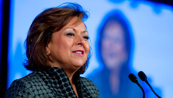 In this Feb. 25, 2018, file photo, New Mexico Gov. Susana Martinez, speaks at the National Governor Association 2018 winter meeting in Washington, D.C. Martinez says the revenue that comes from oil and gas development in New Mexico is critical for funding education and other public services and that Congress needs to address what she described as bureaucratic red tape.