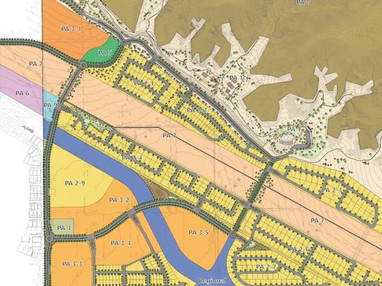A site plan for the Virada project. Sections in yellow would contain single-family homes, and orange sections, multi-family buildings. The northeastern section, in brown, is an open space preserve, and the tan-shaped piece southwest of it is a community park. The coral-colored section across the middle is an easement area.