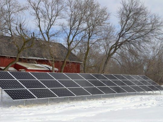Thirty-six solar panels were installed Feb. 20 behind the barn at The Bridge-Between Retreat Center in Morrison. The addition of solar adds to the sustainability practices at the historic facility.