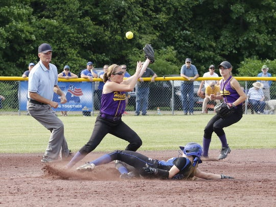 Deposit's Kyra Martin steals second base during a 1-0