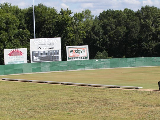 Anderson Memorial Stadium wall before renovation in September.