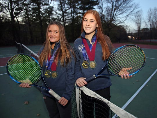 Form left, Laina Campos and Vanessa Ciano of Ursuline who are Westchester/Putnam tennis players of the year are photographed in New Rochelle Nov. 17, 2017.