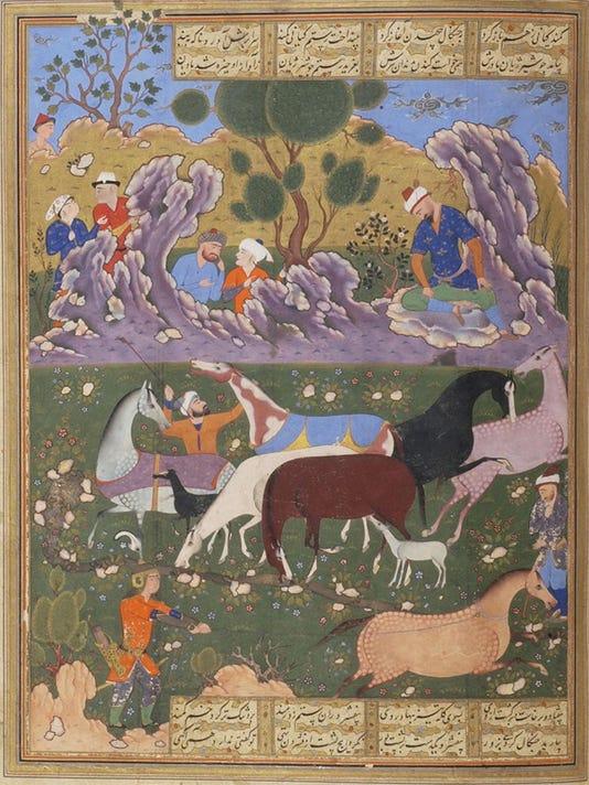 Persian, Iran, Shiraz, Rustam Chooses His Horse, Rakhsh=054a_detail