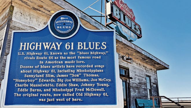 A historical marker outside the Gateway to the Blues Museum in Tunica commemorates Blues Highway 61.