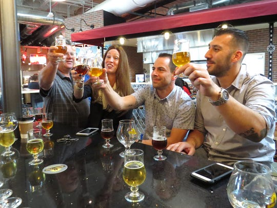 Third from right, Best in Fest Brewery Competition judge Erin Peters, aka The Beer Goddess, toasts fellow judges Kevin Pratt, Jason Hendrick and Jorge Alem during the annual event organized as part of the Casa Pacifica Angels Wine, Food & Brew Festival. An Aug. 18 gathering at Barrelhouse 101 Ventura will celebrate the 10th anniversary of Peters' website, TheBeerGoddess.com.