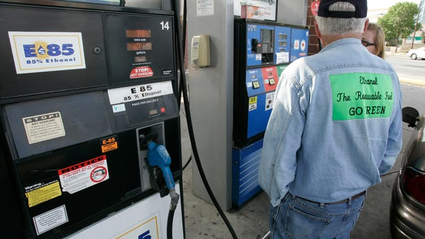 This  2009 photo shows an Ethanol E-85 pump in Minneapolis. The writer suggests that an energy policy favoring ethanol is outdated and should be repealed.