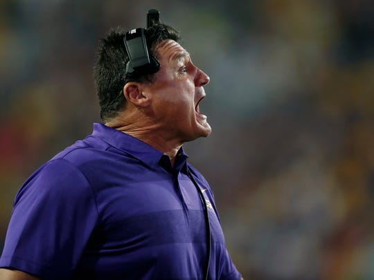 LSU head coach Ed Orgeron reacts to a play during an NCAA college football game against Mississippi State in Baton Rouge, La., Saturday, Oct. 20, 2018. LSU won 19-3. (AP Photo/Tyler Kaufman)
