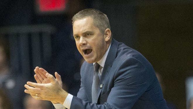 Chris Holtmann, head coach of Butler, Marquette at Butler, men's basketball from Hinkle Fieldhouse, Saturday, March 5, 2016. Butler won 95-74.