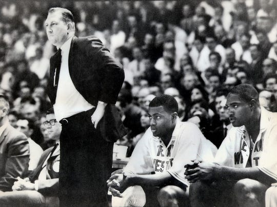 Texas Western College and UTEP head coach Don Haskins watches the action during the 1966 NCAA game against Kentucky.
