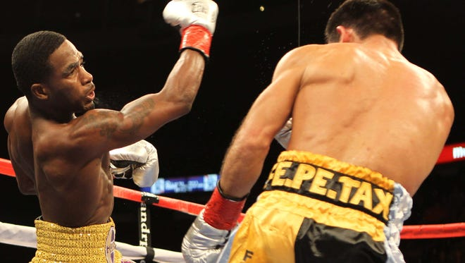 Adrien Broner (left) in November of 2011, when he knocked out Martin Rodriguez.