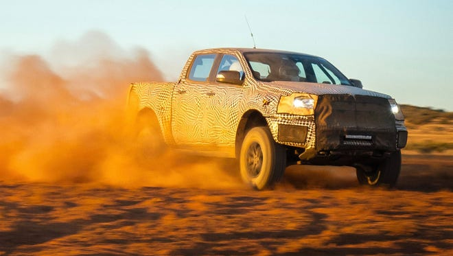 Ford engineers test a camouflaged version of the new Ranger Raptor off-road racing truck in the Australian Outback in their winter of 2017. The Ranger Raptor goes on sale in Asia Pacific nations in 2018. Ford won't say if a Raptor version of the U.S. Ranger that arrives next year is in the works.