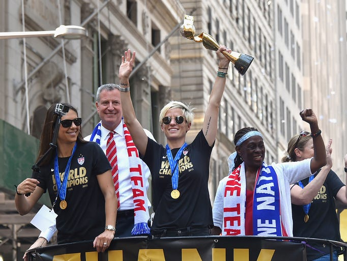 U.S. women celebrate World Cup with ticker-tape parade in ...