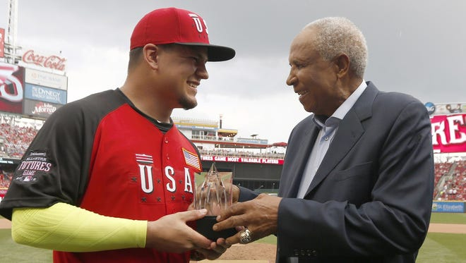 Kyle Schwarber is presented with the MLB All-Star Futures Game MVP award on Sunday, July 12, 2015.