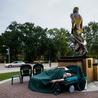 Police investigate after blue 'M' spray painted near Sparty statue