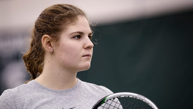 MSU chemical engineering freshman Julia Fenn from Sheridan, Wyoming at the MSU Tennis Complex Feb. 8, 2017.  She won four straight state championships in high school with a record of 58-0.   She was offered a spot on the varsity team after being discovered playing club tennis by one of the pros and MSU's head coach.