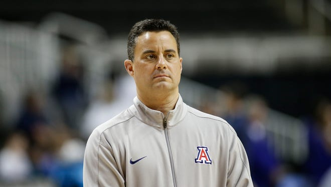 Arizona Wildcats head coach Sean Miller during practice the day before the West Regional semifinals of the 2017 NCAA Tournament at SAP Center.