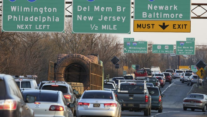 Traffic moves on Del. 141 at I-95 near Newport on March 8.