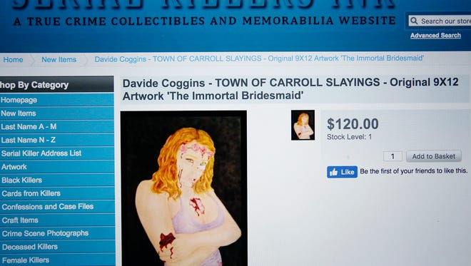 "Convicted murderer Davide Coggins' ""The Immortal Bridesmaid"" art piece is for sale on serialkillersink.net, a website that sells ""true crime collectibles."" Coggins is serving 50 years to life in prison for the slayings of Gordon and Joyce Skinner inside their Town of Carroll home in 2013."