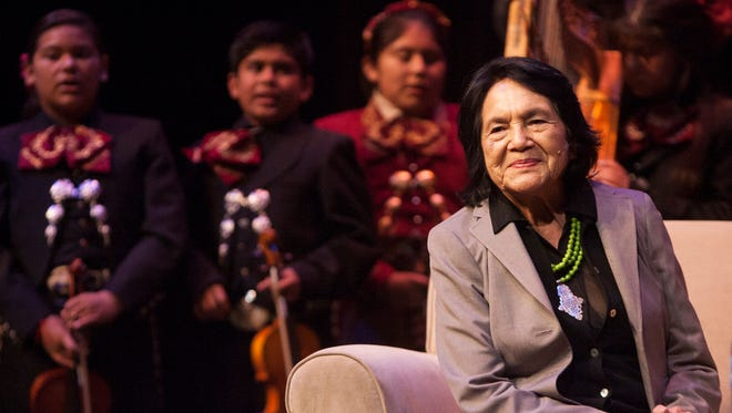 "United Farm Workers co-founder and activist Dolores Huerta is serenaded by the Inlakech Cultural Arts Center band during her appearance at Oxnard College for the Latino Thought Makers Series, an interview program hosted by Rick Najera. The band was playing a Cesar Chavez favorite, ""De Colores."""