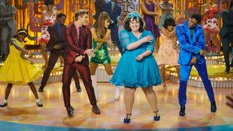 "Shahadi Wright Joseph as Little Inez, Garrett Clayton as Link Larkin, Ariana Grande as Penny Pingleton, Maddie Baillio as Tracy Turnblad, Ephraim Sykes as Seaweed J. Stubbs in NBC's 'Hairspray Live!"""