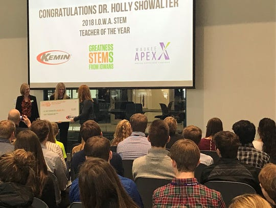 Waukee teacher Holly Showalter won the I.O.W.A. STEM