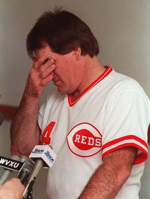 Pete Rose at a postgame press conference as Reds manager in 1989, during the investigation of his gambling.