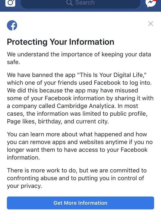 Facebook Privacy Scandal User Notification