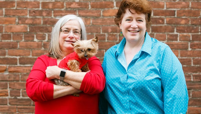 Terri Ellen, holding Tillie, and Terri Sides, right, came into Holding Court on Tuesday, Feb. 14, 2017, to talk about upcoming events put on by Nature's Pet in Salem. The events promise to help participants better communicate with their pets and provide training tips and tricks.