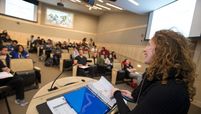 Assistant Professor Department of Kinesiology and Health Sara Campbell teaches Synchronous Lecture on Exercise Physiology from Loree Hall on Douglass to Wright Lab on Busch.